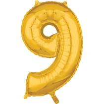 Balónek fóliový narozeniny číslo 9 zlatý 66cm