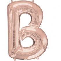 Písmeno B růžovo-zlaté foliový balónek 83 cm