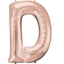 Písmeno D růžovo-zlaté foliový balónek 83 cm