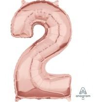 Balónek fóliový narozeniny číslo 2 růžovo-zlaté 66cm