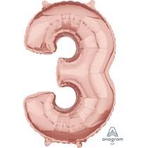 Balónek fóliový narozeniny číslo 3 růžovo-zlaté 66cm