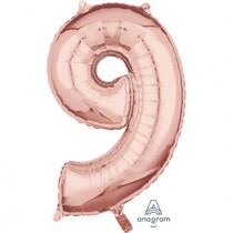 Balónek fóliový narozeniny číslo 9 růžovo-zlaté 66cm