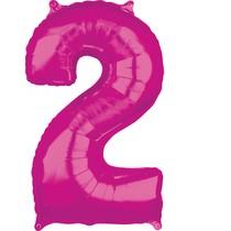 2. narozeniny balónek fóliový číslo 2 růžový 66 cm