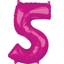 5. narozeniny balónek fóliový číslo 5 růžový 66 cm