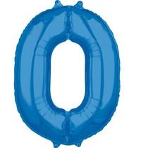 Balónek fóliový narozeniny číslo 0 modré 66 cm