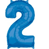 2. narozeniny balónek fóliový číslo 2 modrý 66 cm
