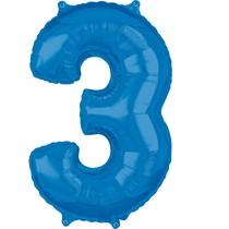 3. narozeniny balónek fóliový číslo 3 modrý 66 cm