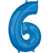 6. narozeniny balónek fóliový číslo 6 modrý 66 cm
