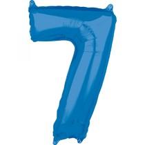 7. narozeniny balónek fóliový číslo 7 modrý 66 cm