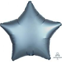 Balónek hvězda foliová satén Steel Blue