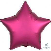 Balónek hvězda foliová satén tmavě růžová