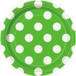 Talíře zeleno - bílé tečky 8ks 18cm