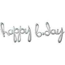 happy b.day balónek stříbrný 99 cm x 68 cm