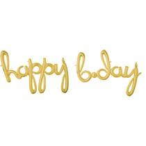 happy b.day balónek zlatý 99 cm x 68 cm