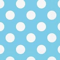 Ubrousky světle modré - bílé tečky 16ks
