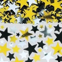 Konfety  hvězda stříbrná, zlatá a černá metalická 71g velké balení