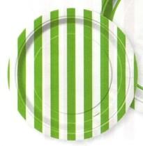 Talíře zelený proužek 8ks 18cm
