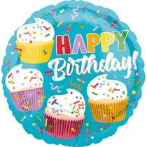 Šťastné narozeniny balónek foliový s dortíky 42 cm