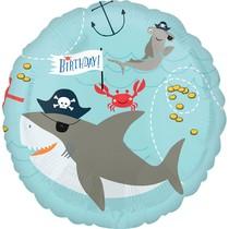 Balónek narozeniny pirát žralok a chobotnice 42 cm