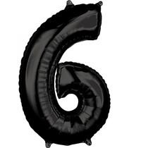 Balónek číslo 6 černý 66 cm
