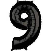 Balónek číslo 9 černý 66 cm