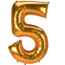 Obří balónek číslo 5 zlatý 132 cm x 86 cm