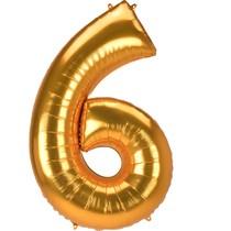 Obří balónek číslo 6 zlatý 137 cm x 86 cm