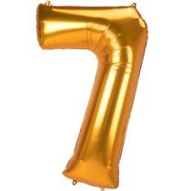 Obří balónek číslo 7 zlatý 134 cm x 83 cm