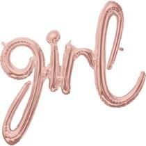 girl balónek růžovo-zlatý 76 cm x 73 cm