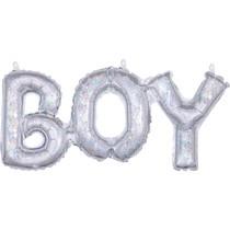Boy balónek stříbrný holografický 50 cm x 22 cm