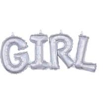 Girl balónek holografický stříbrný 55 cm x 25 cm
