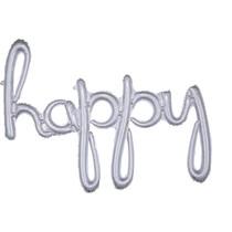 happy balónek holografický stříbrný 99 cm x 68 cm
