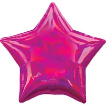 Balónek hvězda holografická tmavě růžová