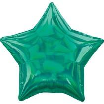 Balónek hvězda holografická zelená