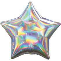Balónek hvězda holografická stříbrná