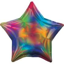 Balónek hvězda holografická duhová