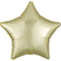Balónek hvězda foliová satén žluto-zlatá