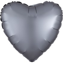 Balónek srdce foliové satén světle šedé