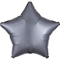 Balónek hvězda foliová satén světle šedá