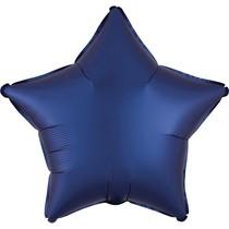 Balónek hvězda foliová satén tmavě modrá