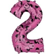 Minnie Mouse balónek číslo 2 růžový 66 cm