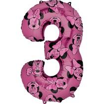 Minnie Mouse balónek číslo 3 růžový 66 cm