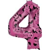 Minnie Mouse balónek číslo 4 růžový 66 cm