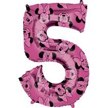 Minnie Mouse balónek číslo 5 růžový 66 cm