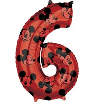 Mickey Mouse balónek číslo 6 červený 66 cm