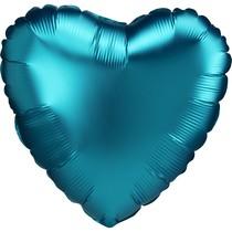 Balónek srdce foliové satén tyrkysové