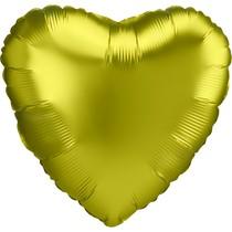 Balónek srdce foliové satén žlutý 42 cm