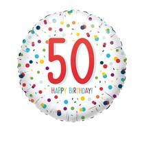 Balónek 50. narozeniny s puntíky 43 cm