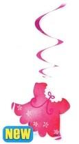Závěsná dekorace růžová 3ks