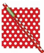 Balící papír červeno - bílé tečky